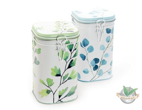 """2 Dosen """"Trees"""" eckig mit Aroma-Bügelverschluss für je 250g Tee"""
