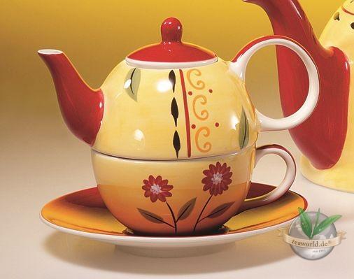 "Tea for one Set ""Danja"" Keramik, 4 teilig Kanne: 0,4 l, Tasse: 0,2 l"
