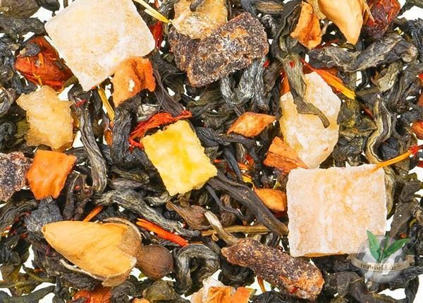 Blüte des Drachenkaisers natürlich - Grüner Tee mit Blüten u. Fruchtstücken