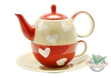 "Tea for one Set ""Corazon"" Keramik, 4 teilig Kanne: 0,4 l, Tasse: 0,2 l"