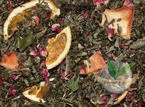 Paradiesvogel Papaya-Orange Grünteemischung mit weißem Tee