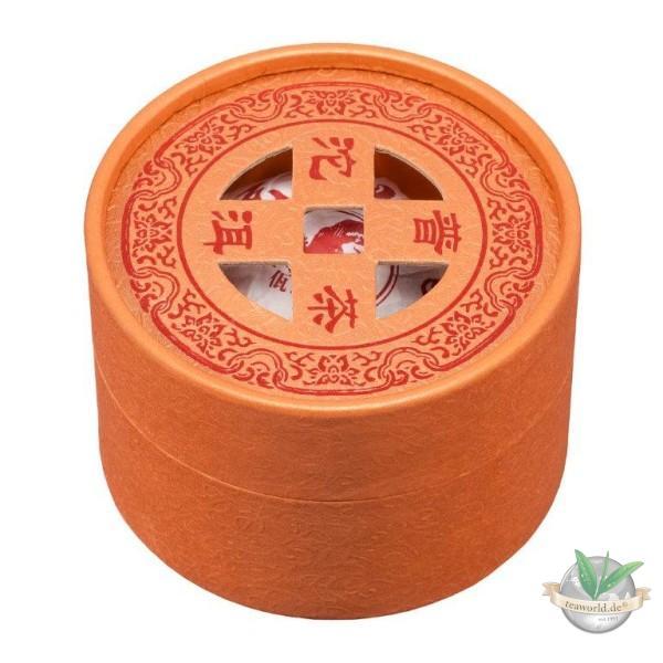 Schmuckdose mit 100 g China Yunnan Pu Erh Tuocha