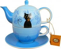 "Tea for one Set ""Filou"" Keramik, mit Goldauflage Kanne: 0,4 l, Tasse: 0,2 l"