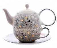 "Tea for one Set ""Sao"" Keramik mit Goldauflage 4-teilig, Kanne: 0,4 l, Tasse:"