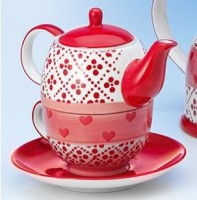 "Tea for one Set ""Joseppa"" Keramik, 4-teilig Kanne: 0,4 l, Tasse: 0,2 l"