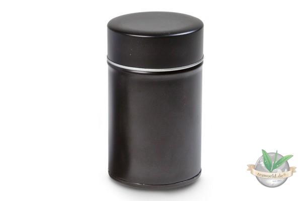 Teedose MATTSCHWARZ (rund mit Stülpdeckel) für 150g Tee