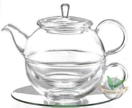 """Tea for one Set """"Lucas"""" Glas, 4 teilig Kanne: 0,45 l, Tasse: 0,3 l"""