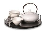 """Tee-Set """"Elea"""" Porzellan, Kanne und 4 Cups Kanne: 0,4 l, Cup: 0,1 l"""