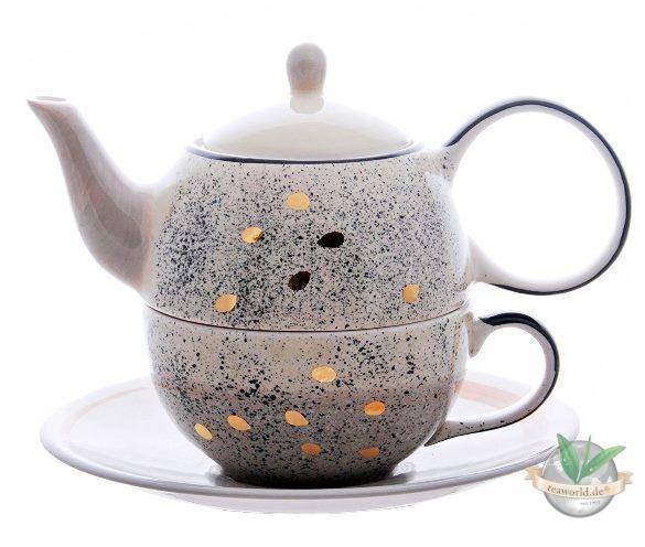 """Tea for one Set """"Sao"""" Keramik mit Goldauflage 4-teilig, Kanne: 0,4 l, Tasse:"""