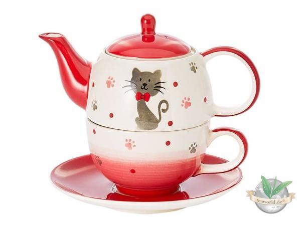 "Tea for one Set ""Mascha"" Keramik, 4-teilig Kanne: 0,4 l, Tasse: 0,2 l"