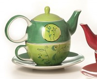 "Tea for one Set ""Goa"" Keramik, mit Goldauflage Kanne: 0,4 l, Tasse: 0,2 l"