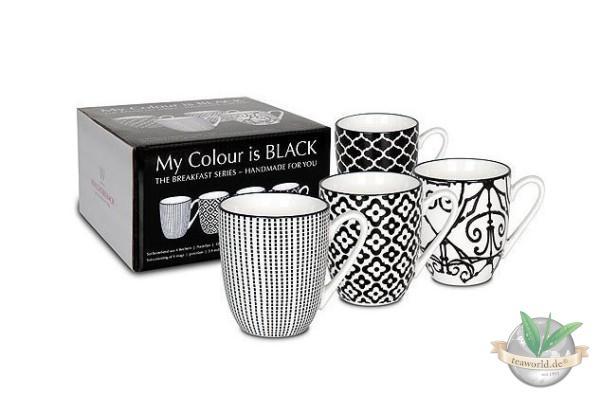 4er Geschenkset Becher - My colour is black