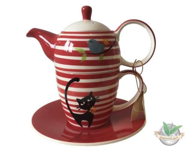 "Tea for one Set ""Elly"" Keramik, 4-teilig Kanne: 0,35 l, Tasse: 0,25 l"