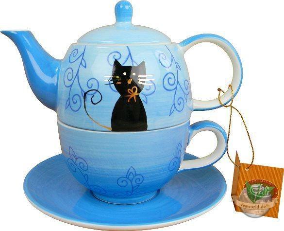 """Tea for one Set """"Filou"""" Keramik, mit Goldauflage Kanne: 0,4 l, Tasse: 0,2 l"""