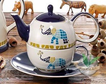 "Tea for one Set ""Voi"" Keramik mit Goldauflage 4-teilig, Kanne: 0,4 l, Tasse:"