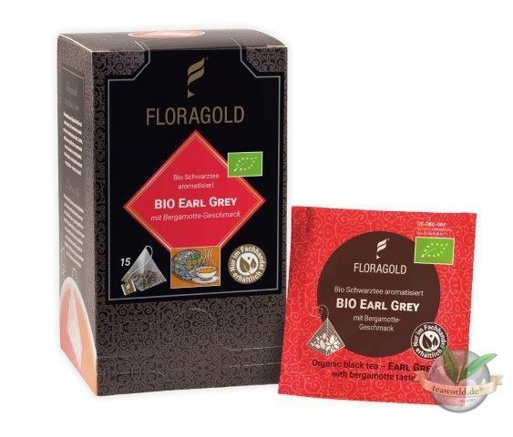 Bio Earl Grey - Schwarzer Tee 15 Pyramiden Teebeutel Floragold