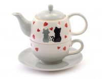 "Tea for one Set ""Colette"" Keramik, 4-teilig Kanne: 0,4 l, Tasse: 0,2 l"