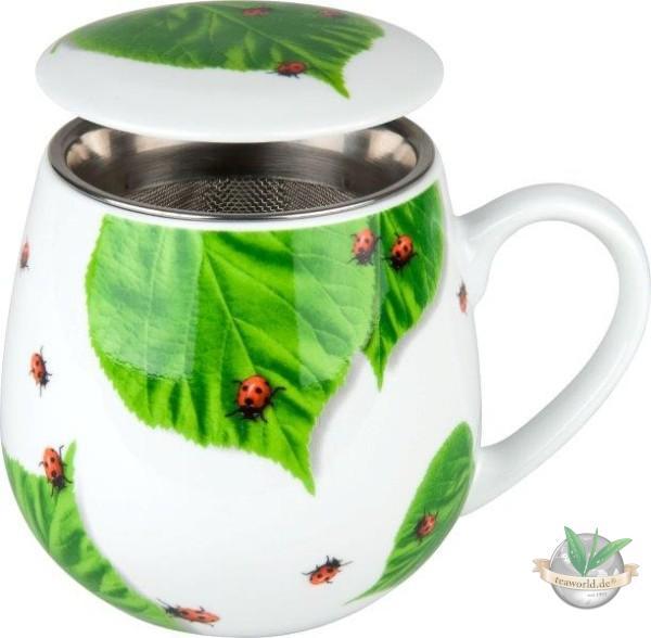 Kuschelbecher: Tea for you - Marienkäfer auf Laub