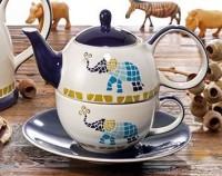 "Tea for one Set ""Voi"" Keramik mit Goldauflage 4-teilig, Kanne: 0,4 l, Tasse:"
