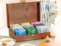 Holz-Teebox (unbefüllt) aus Buchenholz gebeizt für 54 Pyramidenbeutel