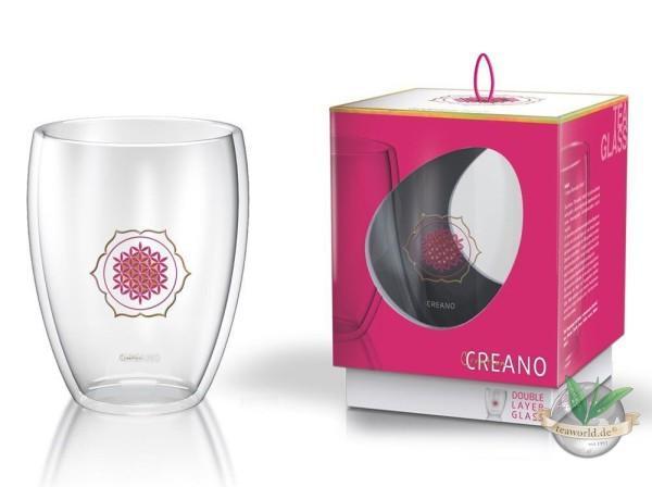 """Creano Thermoglas """"Blume des Lebens"""", Thermobecher 250 ml in Geschenkbox"""