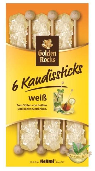 6 Kandissticks weiss - Golden Rocks