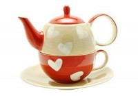 "Tea for one Set ""Corazon"" Keramik, 4 teilig Kanne: 0,4 l, Tasse: 0,2 l"
