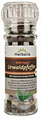 Bio Tellicherry Urwaldpfeffer in einer Glasmühle