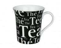 Becher Tea Schrift auf Schwarz