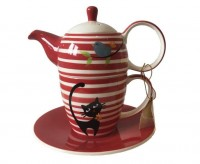 "Tea for one Set ""Elly"" Keramik, 4-teilig Kanne: 0,35 l, Tasse: 0,25 l"