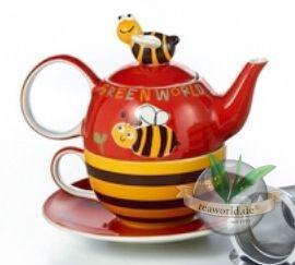 "Tea for one Set ""Fritzi"" Keramik, 4 teilig Kanne: 0,4 l, Tasse: 0,2 l"