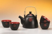 Tee-Set Hidchi aus Keramik, Kanne und 4 Cups Kanne: 0,7 l, Cup: 0,125 l