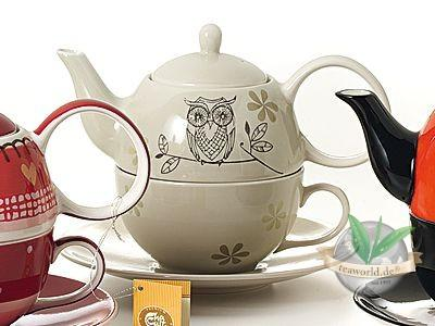 "Tea for one Set ""Lutz"" Keramik, 4 teilig Kanne: 0,4 l, Tasse: 0,2 l"
