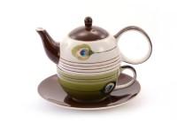 """Tea for one Set """"Pfauenauge"""" Keramik, 4-teilig Kanne: 0,4 l, Tasse: 0,2 l"""